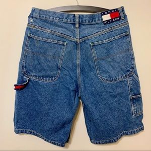 Vtg Tommy Hilfiger Big Flag Carpenter Jean Shorts